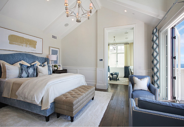 ultimate california beach house with coastal interiors 14839 | coastal master bedroom with blue and white cream ivory white decor coastalbedroom masterbedroom blueandwhite creamybedroom ivorybedroom coastalinteriors spinnaker development