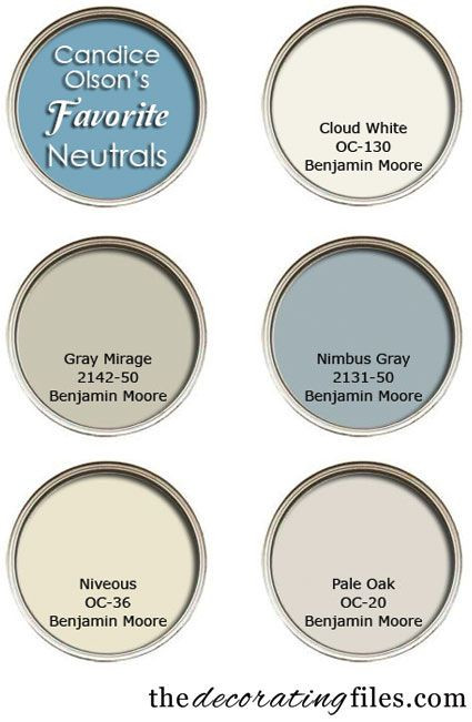 Color Palette. Designer's Favorite Color Palette. Candice Olson's Favorite Neutrals. #ColorPalette #CandiceOlsonPaintColor From decorating files.