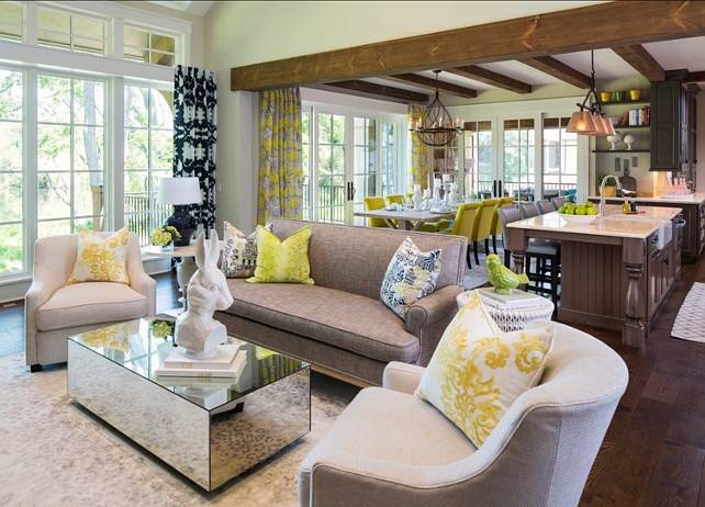 "Colorful Interiors. Chic colorful interiors. The Baker chairs are covered in a Stark fabric. The sofa is by Lillian August. Paint Color is ""Sherwin-Williams SW 6148 Wool Skein"". #Interiors #FurnitureIdeas #ColorfulInteriors #InteriorPatternIdeas Designed by Martha O'Hara Interiors."