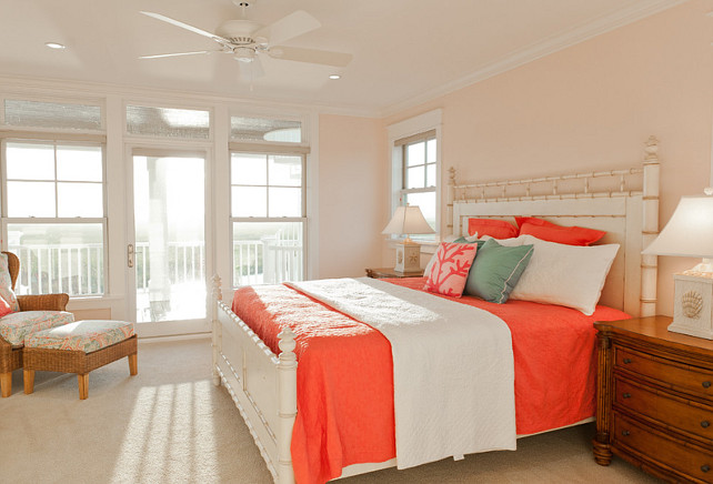 stunning coral beach bedroom | Beach House with Casual Coastal Interiors - Home Bunch ...