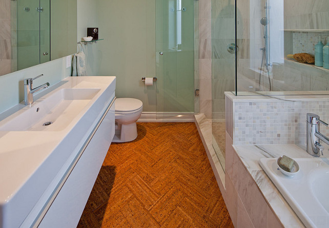 Cork Flooring Ideas. Bathroom with soft and warm cork flooring. Cork Flooring in herringbone pattern. #CorkFlooring #CorkFloors #HerringbonePattern