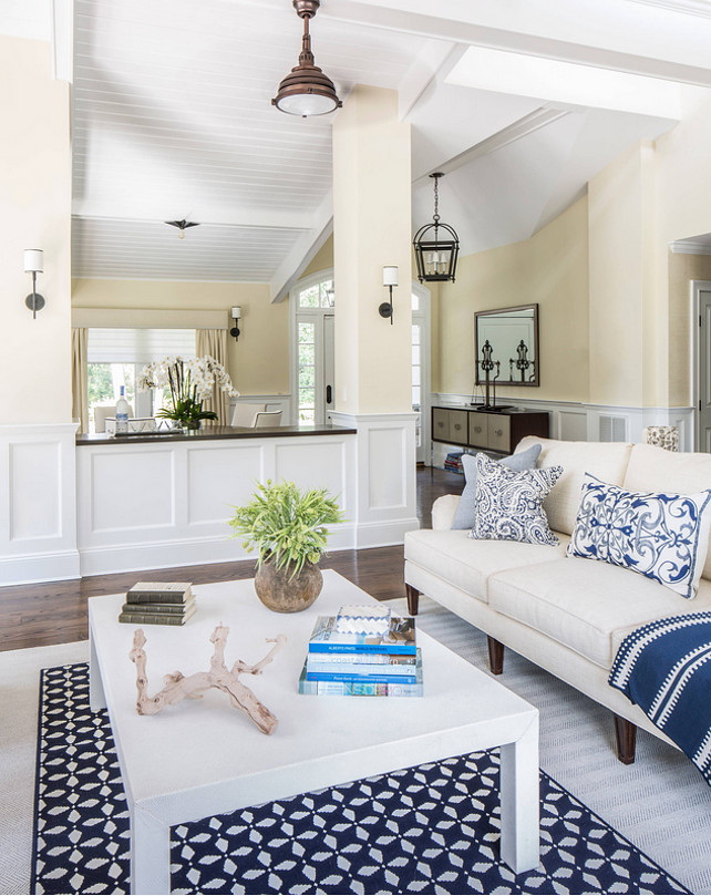 Costal living room. Coastal Living Room with blue and white decor. #CoastalLivingRoom #Blueandwhite Kim E Courtney Interiors & Design Inc.