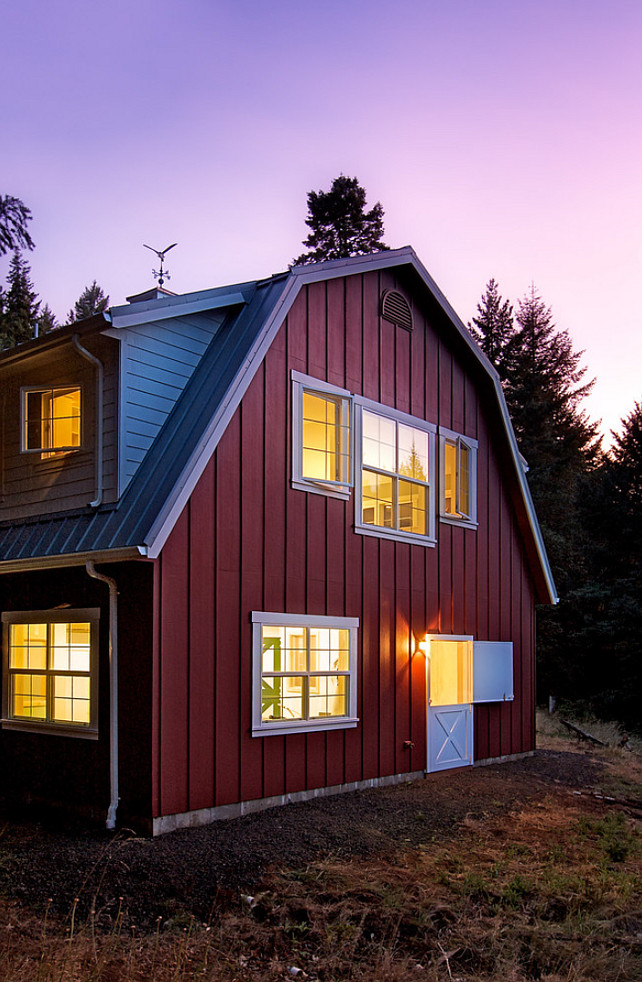 Cottage Barn. Cottage Barn Design. This red barn is a romantic cottage in the woods. #Barn #Cottage  Henderer Design + Build.