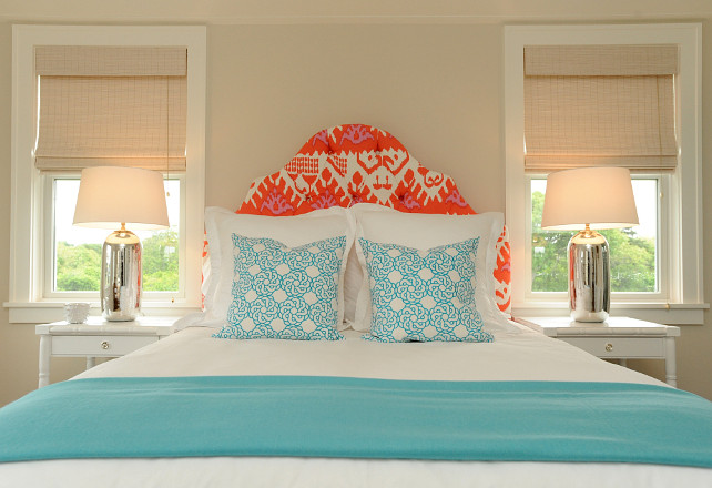 Cottage Bedroom. Cottage Bedroom with Turquoise Bedding with orange headboard. #Cottage #Bedroom #Turquoise Nina Liddle Design.