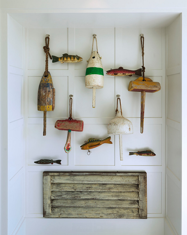 Cottage Decor Ideas. Easy Cottage Decor Ideas. Sea artifacts adorn this board and batten wall. Affordable Decor Ideas. #Cottage #CottageDecor #AffordableDecor. #CottageIdeas. #BoardBatten