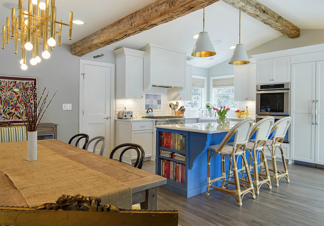 Cottage Kitchen. White Cottage Kitchen with Blue Island and Beamed Ceiling. #CottageKitchen Revision LLC.
