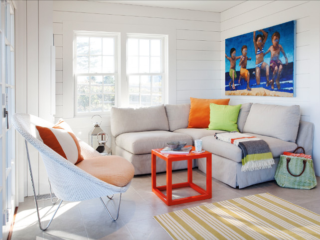 Cottage Living Room. Small Cottage Living room with Tongue and Groove Wall Paneling. #Cottage #SmallInteriors #SmallLivingRoom #SmallCottage #TongueandGroove #TongueGroove Jennifer Palumbo.