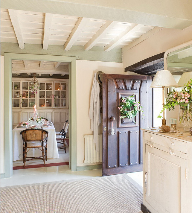 French Country Cottage With Christmas Decor Paint Color Benjamin Moore Guilford Green Hc 116 Part Of
