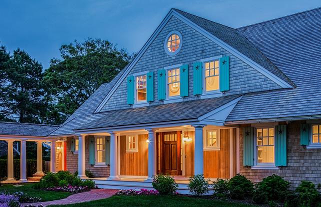 Cottage. Shingle cottage with shutters. Shingle beach cottage shutters. Shutter paint color is Benjamin Moore OC-48 Hazy Blue. #cottage #Shinglecottage #CottageShutter Polhemus Savery DaSilva Architects Builders.