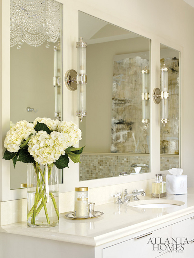 Bathroom. Cream White Bathroom. #BathroomDesign #White