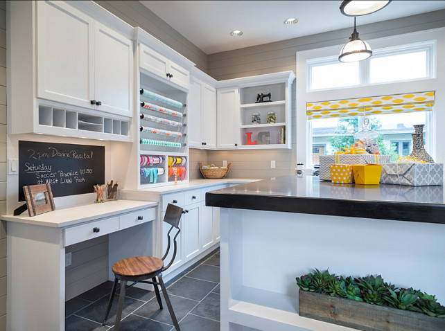 Craft Room Ideas. The countertops in this craft room are Caesarstone quartz. #CraftRoomIdeas #Caesarstone #quartz #CaesarstoneQuartz