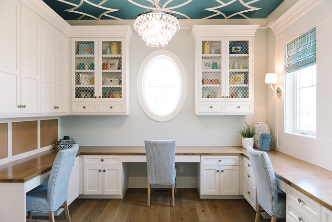 Craft Room Paint Color is Benjamin Moore OC-17 White Dove. Craft Room Cabinet. Craft Room Layout. Craft Room Inlay Ceiling. Craft Room Cabinet Countertop. Craft Room Lighting. Craft Room Window Shade. #CraftRoom