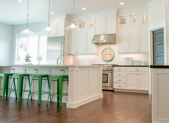 Ivory White Kitchen. Cream white kitchen. Cream white kitchen cabinet paint color inspiration. Shaker Style Kitchen Cabinets. Beautiful white kitchen with Shaker Style Kitchen Cabinets. Lindsay Hill Interiors. Lindsay Hill Interiors.
