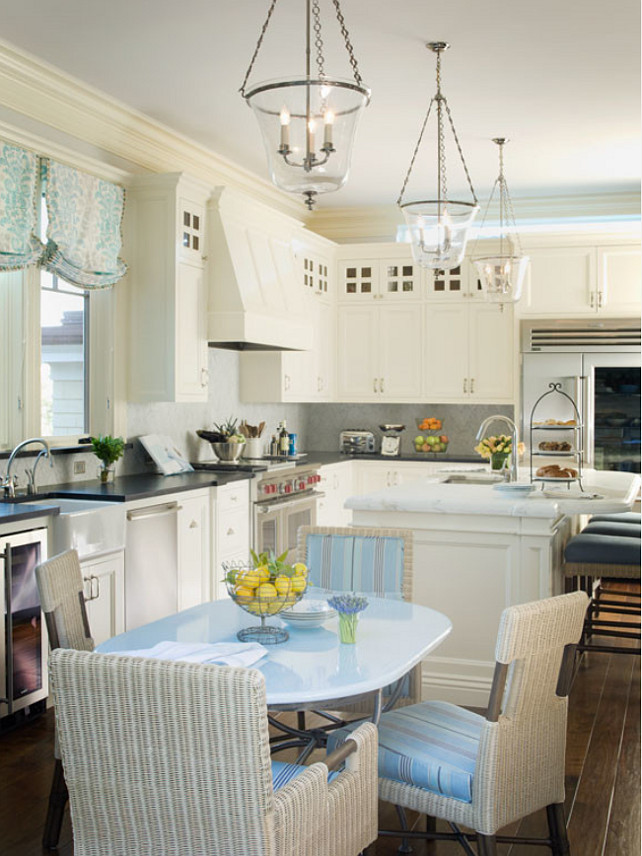 Creamy White Kitchen. Coastal Creamy White Kitchen with Turquoise Decor. Creamy White Kitchen Cabinets. Creamy White Kitchen Ideas. Creamy White Kitchen Paint Color. #CreamyWhiteKitchen EJ Interior Design, Eugenia Jesberg.