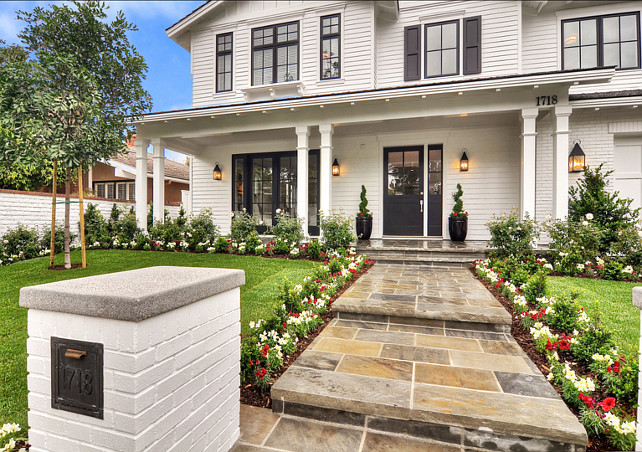 simple front yard landscaping ideas pictures big pots - Family Home with Coastal Transitional Interiors Home