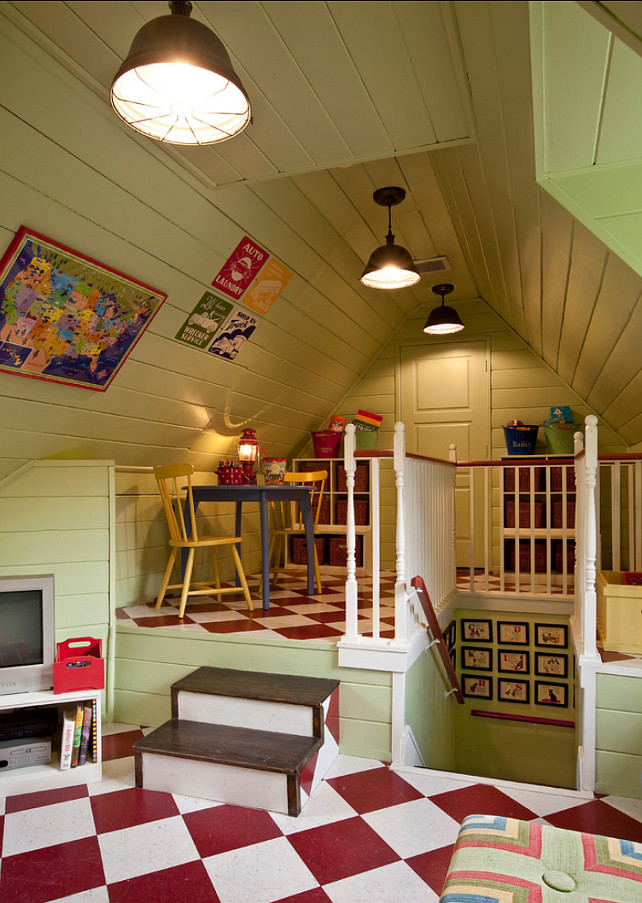 Attic Design Ideas. This attic was designed to be a playroom. Great usage of space. #Attic