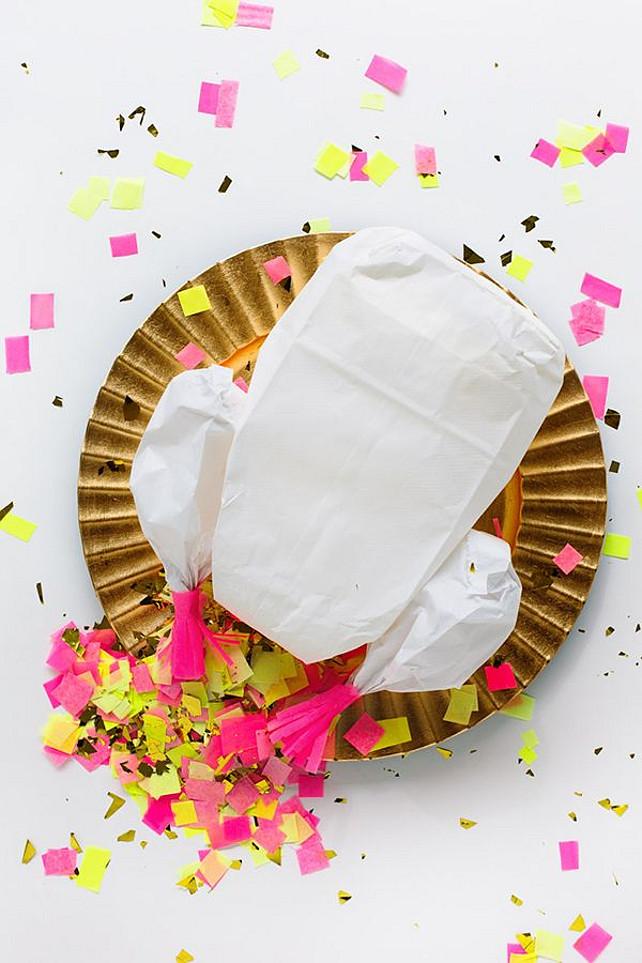 DIY Confetti Stuffed Turkey. Fun Thanksgiving Decor Ideas.  Via DIY Studio. Step by Step Photos by Studio DIY, All Other Photos by Mary Costa Photography.