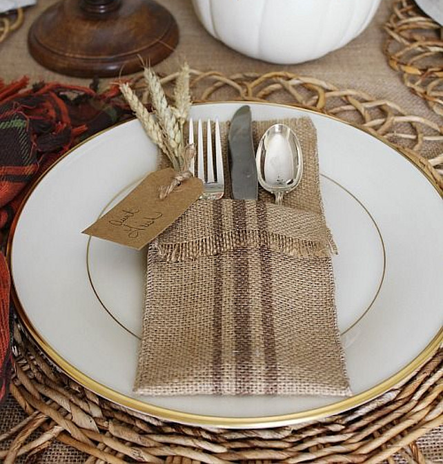 DIY Table Top Ideas. Burlap DIY Table Top Ideas. Grain sack painted striped burlap utensil holders from Uncommon Designs.