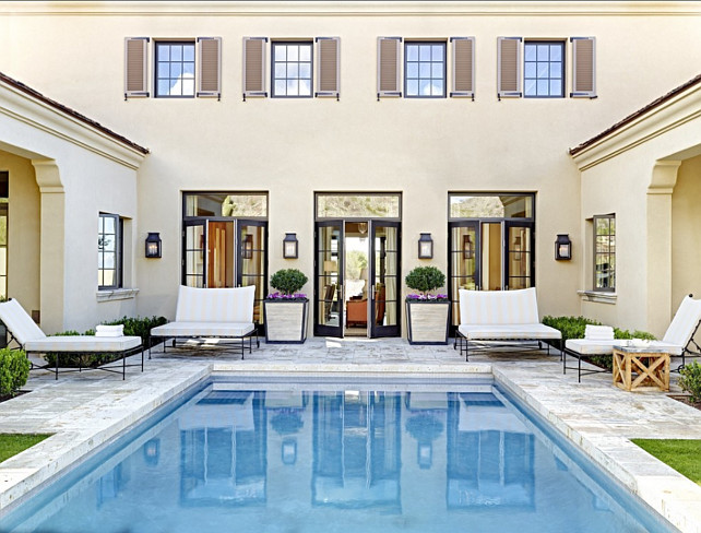 Pool Ideas. Pool Design. The wall lanterns are from Paul Ferrante lighting out of Los Angeles. #Pool