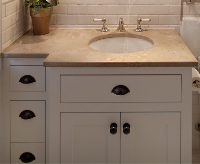 Bathroom Countertop Ideas. The countertop in this bathroom is 3 cm Honed Corinthian Beige Marble. #BathroomCountertop #Marble #CorinthianBeigeMarble