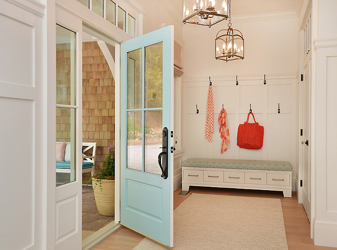 "Top Foyer Pin: ""Coastal Foyer"". Turquoise front door paint color is by ""Farrow and Ball, Number 210, Blue Ground"". Foyer Lighting. Foyer with lantern pendant lights. The lights are Millbrook pendant lights in historic nickel from Hudson Valley Lighting, product number 8412-HN. The bench was built as a custom piece of furniture for the foyer. #Foyer #Lighting #lanternPendants Design by Walter Powell Architect, Sunshine Coast Home Design."