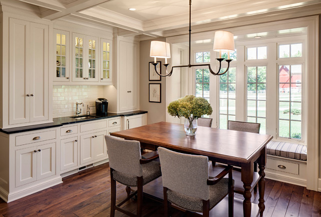 Dining Room Chandelier Ideas. The chandelier in this dining room is the E.F. Chapman Flemish 4-light, Linear Pendant in Aged Iron. #DiningRoom #DiningRoomLighting #DiningRoomChandelier #DiningRoomChandelierIdeas