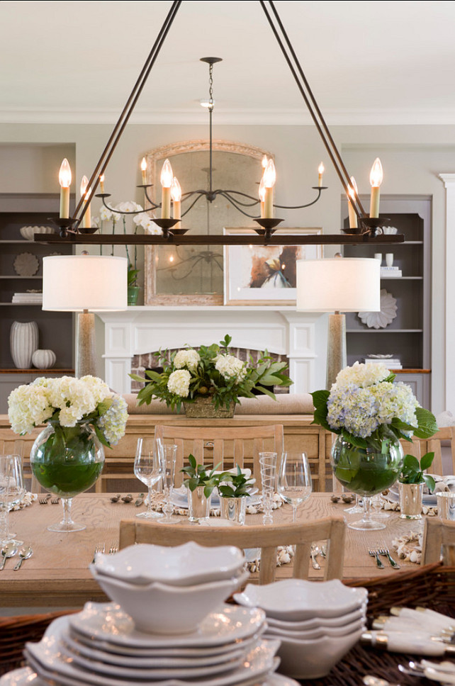 Dining Room Ideas. The chandelier in this dining room is Currey and Company# 98168. #DiningRoom