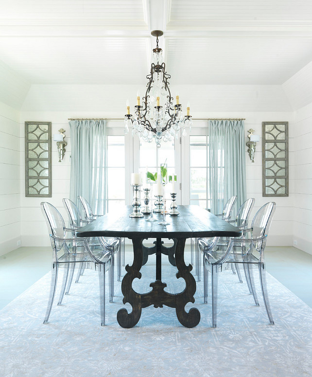 Dining Room. Cottage Dining Room. White Dining Room. Plank Floors Dining Room. Bleached Plank Floors. Dining Room Lighting. Dining Room Layout. Dining Room Furniture. Dining Room with horizontal ship lap walls with hand rubbed painted floor plank boards. #DiningRoom