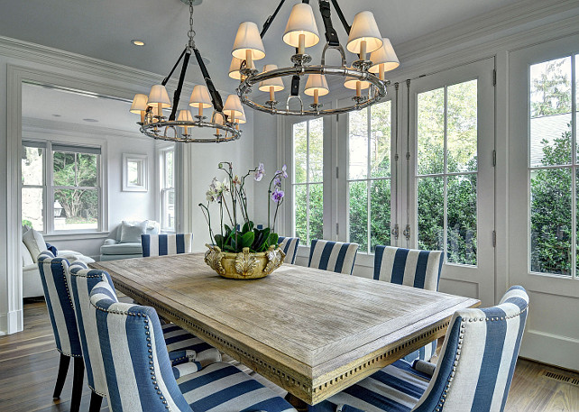 Dining Room. Dining Room Lighting. Dining Room Lighting Ideas. Transitional Dining Room Lighting. #DiningRoom Dining room chandelier is the Westbury Chandelier in Polished Nickel by Ralph Lauren Home. #DiningRoomLighting #DiningRoomLightingIdeas