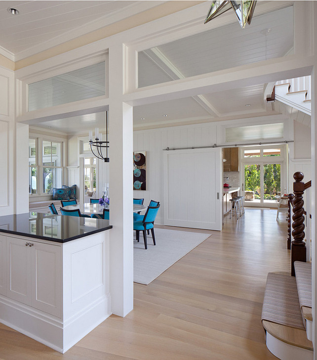 Dining Room. Barn door dining room. Sliding barn door dining room. #DiningRoom #Barndoor #slidingDoor Anthony Crisafulli Photography. Gale Goff Architect.