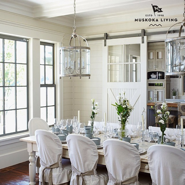 Dining Room. Coastal Dining Room Decor. Dining Room Plank. Dining Room Plank Walls. Dining Room Linghting. Dining Room Tablescape. Dining Room Barn Door. #DiningRoom Imagine by Muskoka Living Interiors