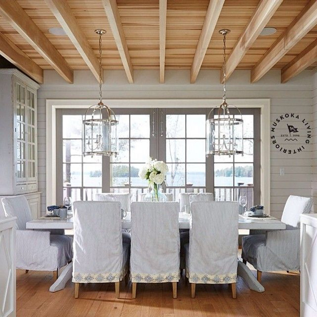 Dining Room. Coastal Dining Room with slipcovered dining chairs. #DiningRoom #Coastal #DiningChairs #Slipcovered #SlipcoveredFurniture #SlipcoveredChairs #Dining Imagine by Muskoka Living Interiors.