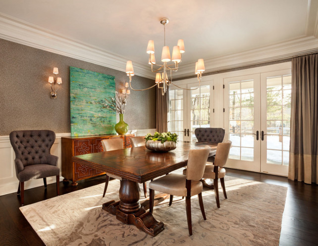 Dining Room. Dining Room Decor Ideas. Dining Room Furniture. Dining Room Lighting. Dining Room Wallpaper. Dining Room Decor. Dining Room Millwork. #DiningRoom The dining room features a warm wallpaper, two-toned draperies and beautiful lighting. Lighting is the Thomas OBrien Farlane 12 Light Chandelier.Garrison Hullinger Interior Design Inc.