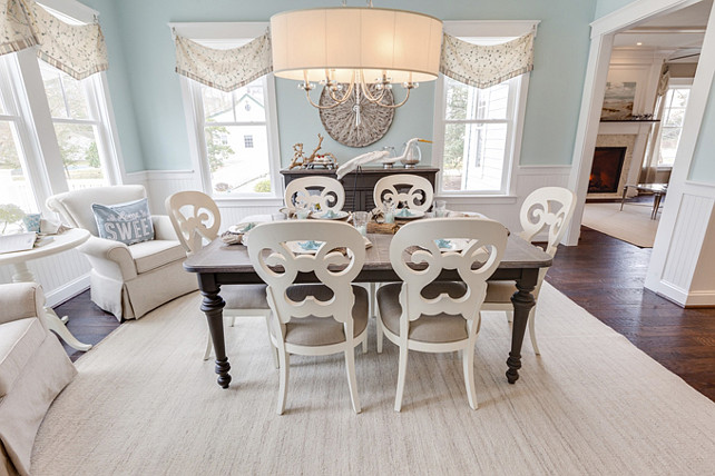 Dining Room. Dining Room Paint Color is Sherwin Williams SW 6477 Tidewater. Dining Room with Sitting Area and Coastal Decor. Beach House Dining Room. #DiningRoom