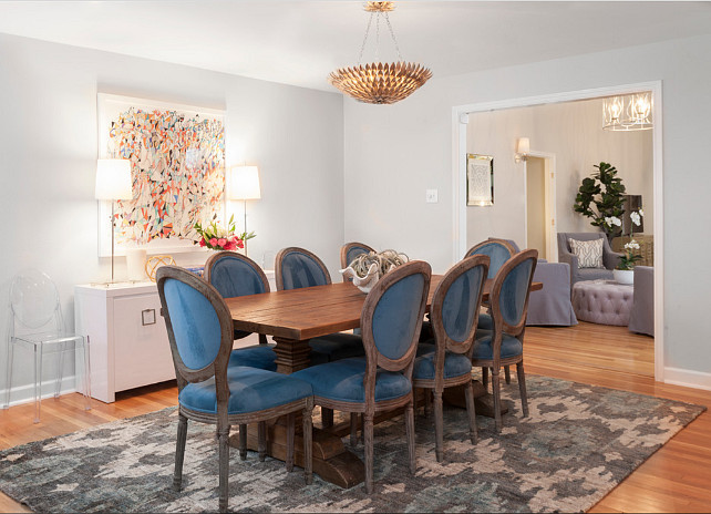 Dining Room. Dining Room with blue velvet chairs. Blue velvet chairs. Butter Lutz Interiors, LLC.