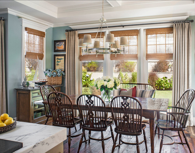 Dining Room. I am loving this casual dining room. Chandelier from Visual Comfort. #DiningRoom #Interiors #HomeDecor