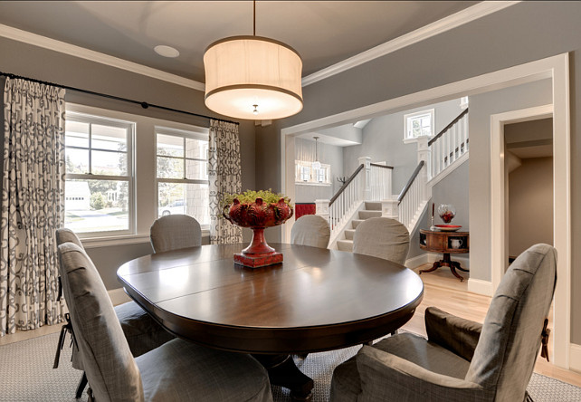 Dining Room. This is a great dining room. I am loving the gray paint color. #DiningRoom #Interiors #paintColor