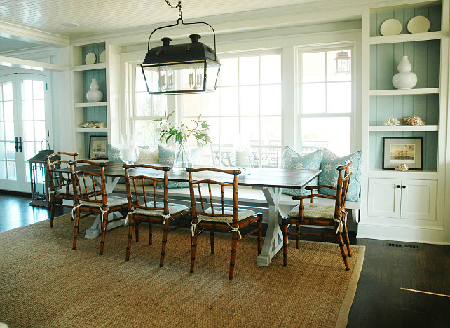 Dining Room Turquoise With Banquette Cottage Built In Cabinets