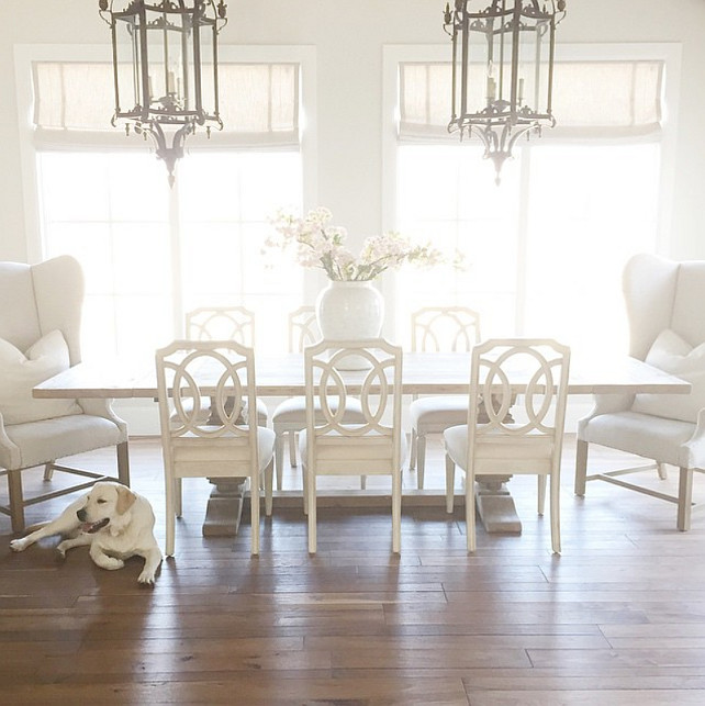 Dining Room. Wing Chair Dining Room. Dining room with huge dining room table and wing chairs. #DiningRoom #WingChair Pink Peonies