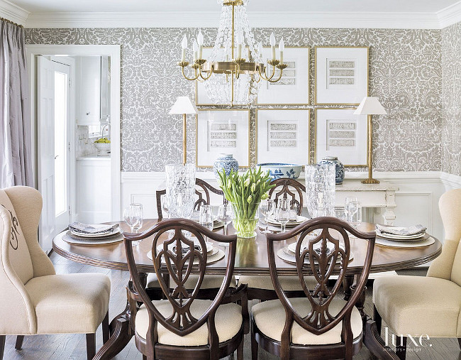 Dining room wallpaper. Farrow & Ball's Silvergate wallpaper in Grisaille defines the dining room. #DiningRoom #Wallpaper Beth Gularson