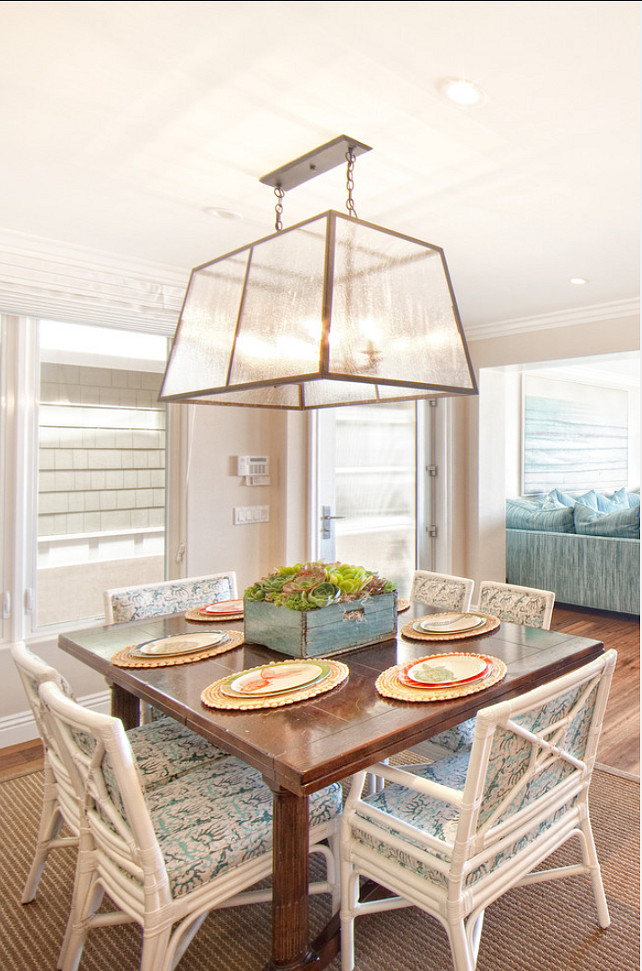 Dining room. Casual Dining Room. Coastal dining room design.  Light fixture was custom made from Linden Rose in Corona del Mar. #diningRoom Brooke Wagner Design.