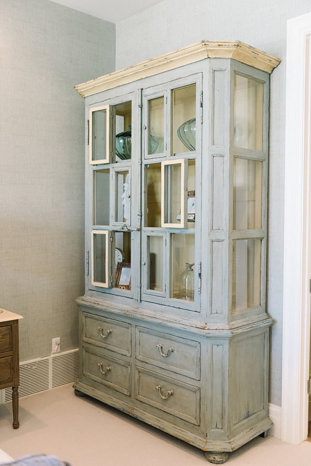 Distressed Cabinet. Distressed Furniture. Distressed cabinet in master bedroom. Four Chairs Furniture.