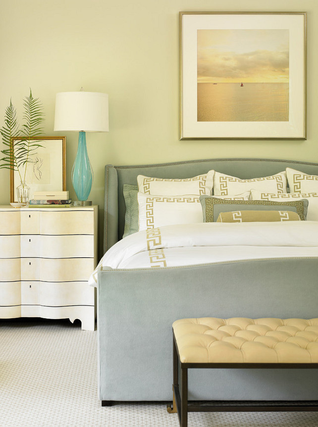 Summer Bedroom Decor. Elegant Bedroom with Coastal Colors. Bedding linens are from Leontine Linens. Interior Design by Beth Webb Interiors.