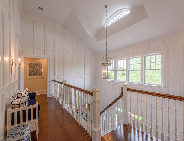 Entrance way. Dramatic double height entrance way with paneled walls. #Entranceway #PaneledWalls  Via Sotheby's Homes.