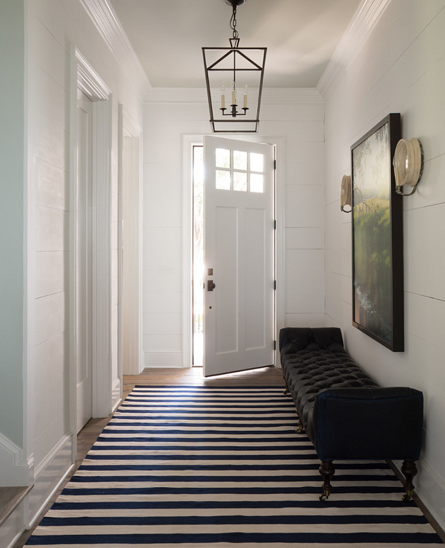 "Entry Hall. Entry Hall Design. Entry Hall Reno Ideas. Entry Hall Decor. Entry Hall Lighting. Paint Color is Benjamin Moore Decorators White. #EntryHall #EntryHallDecor #EntryHallReno #EntryHallLighting Reu Architects. Paint Color: ""Benjamin Moore CC-20 Decorators White"" #BenjaminMooreCC20DecoratorsWhite"