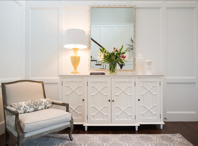 Entry. Entryway Ideas. Entryway Design Ideas. Classic, entryway with paneled walls. Crisp white wall color. Designed by Studio M Interiors.  #Entry #Entryway #EntrywayDesign #EntrywayDecor #EntrywayDesign