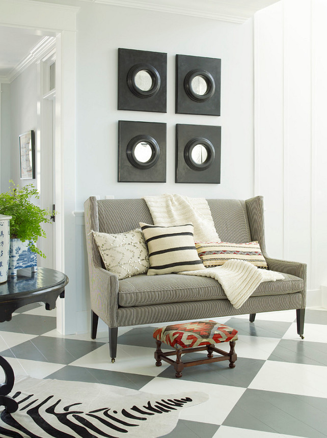 Entryway Furniture and decor ideas. Entryway with settee and painted hardwood flooring. #Entryway #EntrywayFurniture #EntrywayDecor Burnham Design.