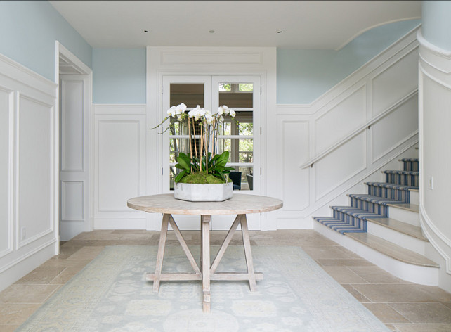 "Entryway Ideas. Entryway Design Ideas. Coastal Entryway. Paint Color is ""Benjamin Moore 715 In Your Eyes"".  #Entryway"
