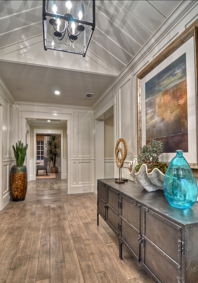 Entryway. Coastal Inspired entryway with engineered white oak hardwood flooring. #Entryway #Entry #Foyer #EntrywayDesign