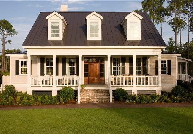 Exterior Paint Colors: Siding of the House Benjamin Moore Coastal Fog. Trim is Alabaster from Benjamin Moore. Shutters are painted in Sherwin Williams Green Black SW#6994. #Exterior #PaintColorIdeas